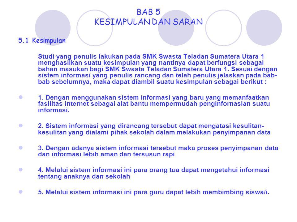 BAB 5 KESIMPULAN DAN SARAN