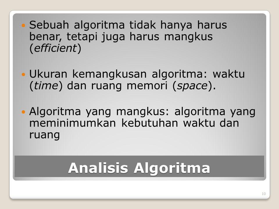 Sebuah algoritma tidak hanya harus benar, tetapi juga harus mangkus (efficient)