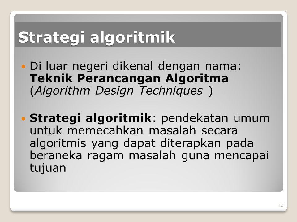 Strategi algoritmik Di luar negeri dikenal dengan nama: Teknik Perancangan Algoritma (Algorithm Design Techniques )