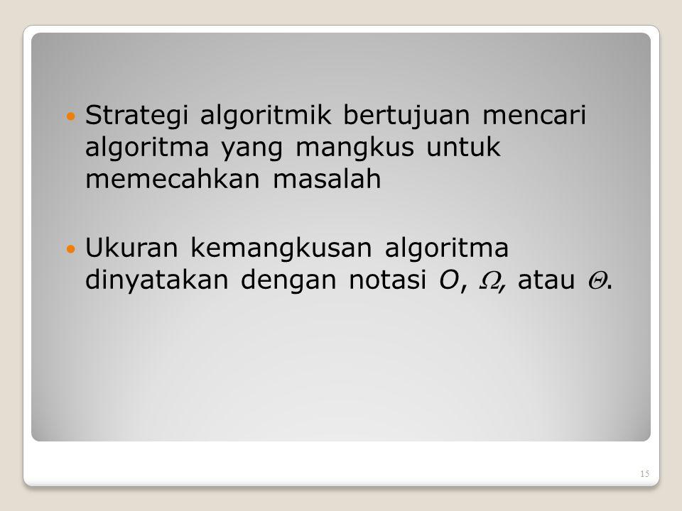 Strategi algoritmik bertujuan mencari algoritma yang mangkus untuk memecahkan masalah