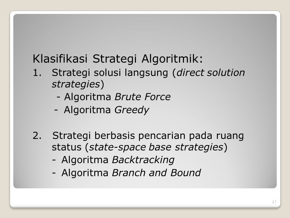 Klasifikasi Strategi Algoritmik: