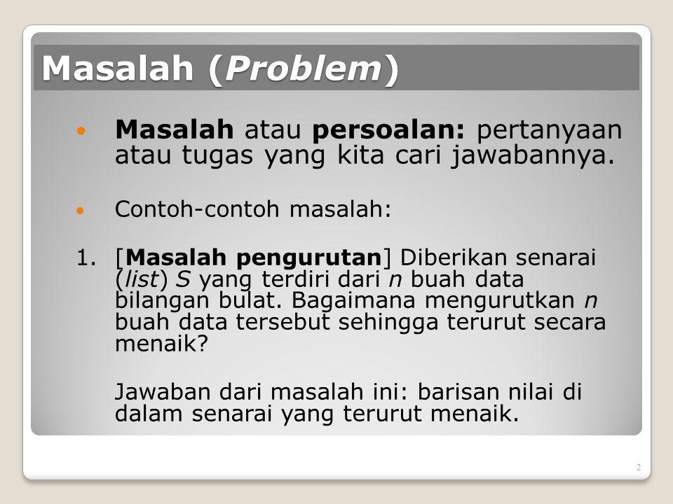 Masalah (Problem) Masalah atau persoalan: pertanyaan atau tugas yang kita cari jawabannya. Contoh-contoh masalah: