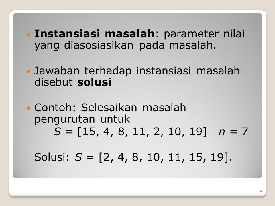 Instansiasi masalah: parameter nilai yang diasosiasikan pada masalah.