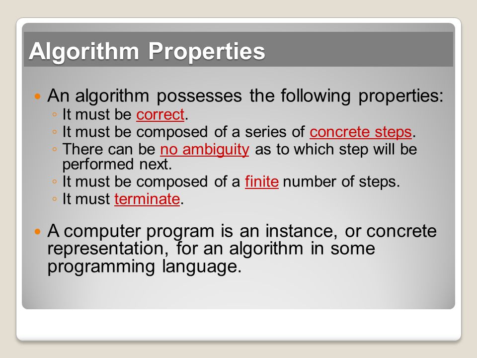 Algorithm Properties An algorithm possesses the following properties: