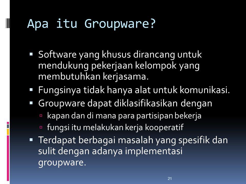 Apa itu Groupware Software yang khusus dirancang untuk mendukung pekerjaan kelompok yang membutuhkan kerjasama.