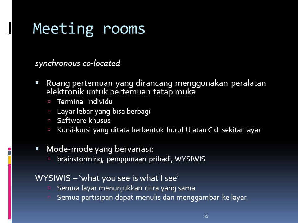 Meeting rooms synchronous co-located