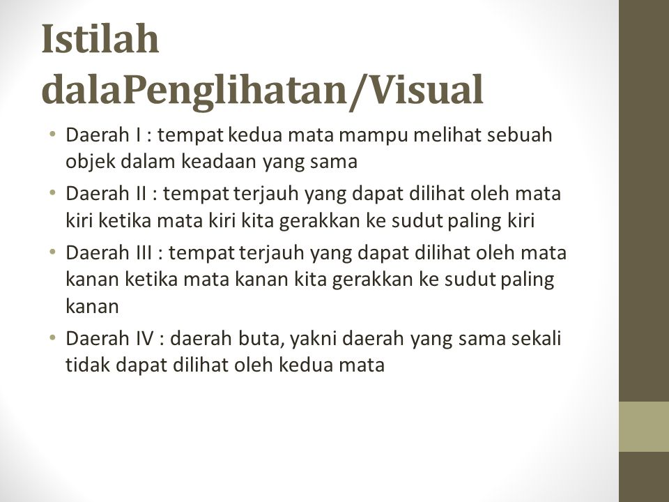 Istilah dalaPenglihatan/Visual