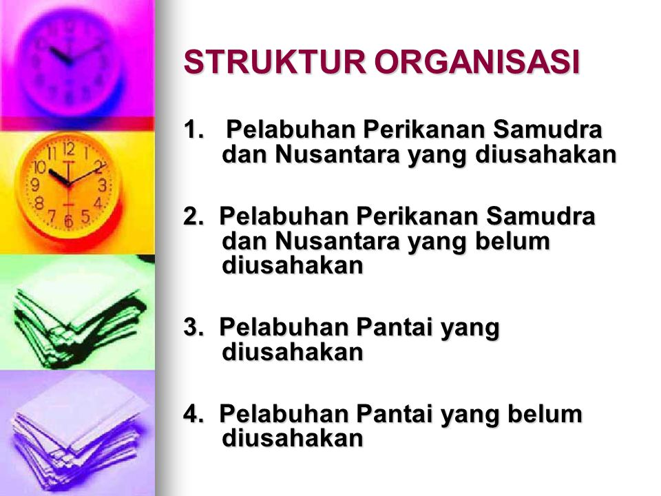 STRUKTUR ORGANISASI 1. Pelabuhan Perikanan Samudra dan Nusantara yang diusahakan.