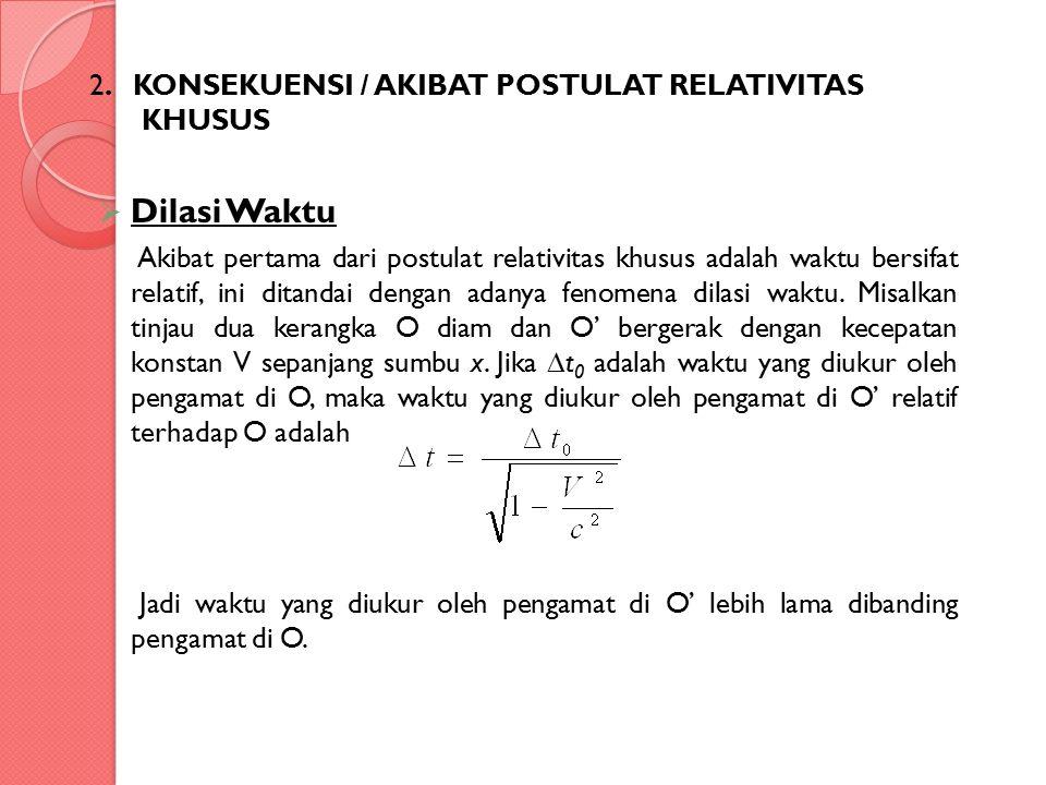 Dilasi Waktu 2. KONSEKUENSI / AKIBAT POSTULAT RELATIVITAS KHUSUS