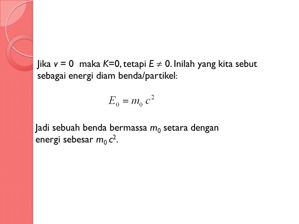 Jadi sebuah benda bermassa m0 setara dengan energi sebesar m0 c2.
