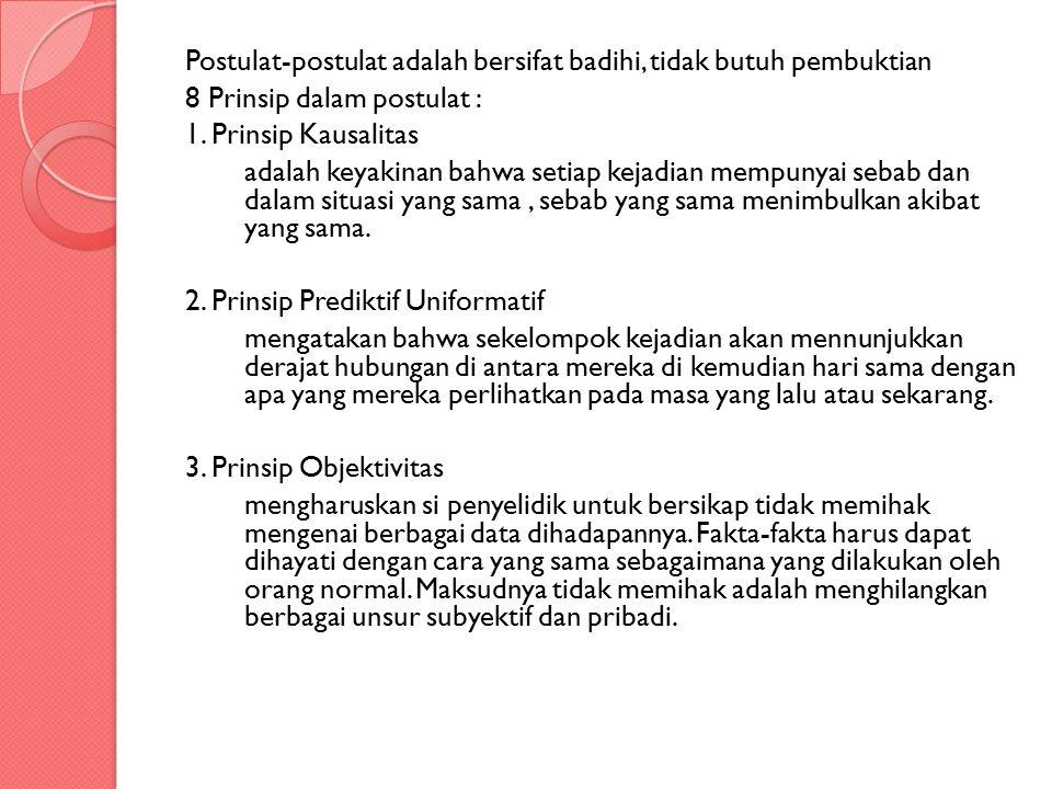Postulat-postulat adalah bersifat badihi, tidak butuh pembuktian 8 Prinsip dalam postulat : 1.