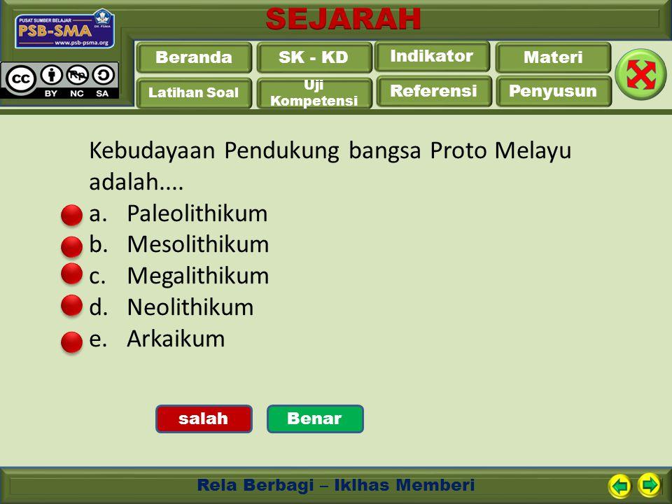 Kebudayaan Pendukung bangsa Proto Melayu adalah.... Paleolithikum