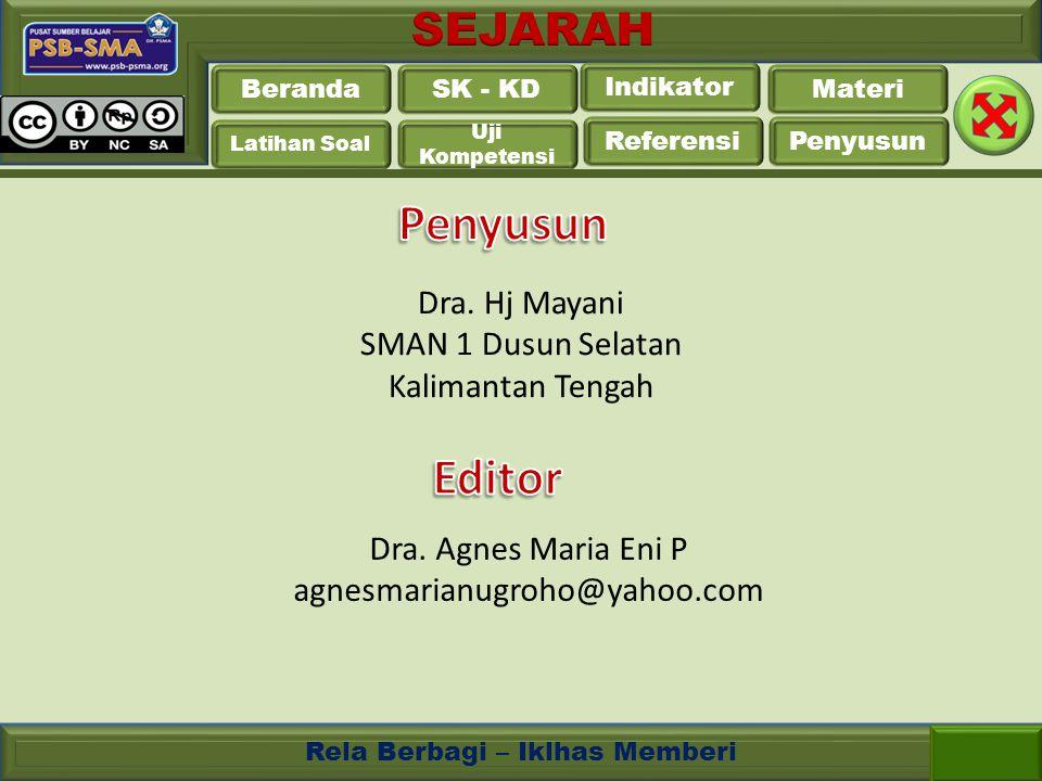Penyusun Editor Dra. Hj Mayani SMAN 1 Dusun Selatan Kalimantan Tengah