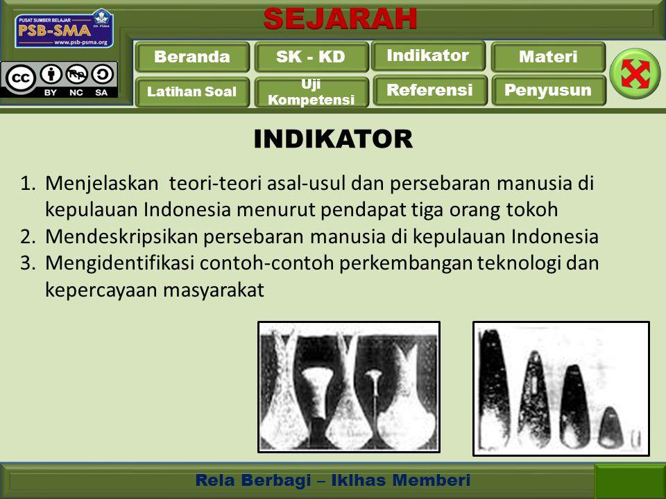 INDIKATOR Menjelaskan teori-teori asal-usul dan persebaran manusia di kepulauan Indonesia menurut pendapat tiga orang tokoh.