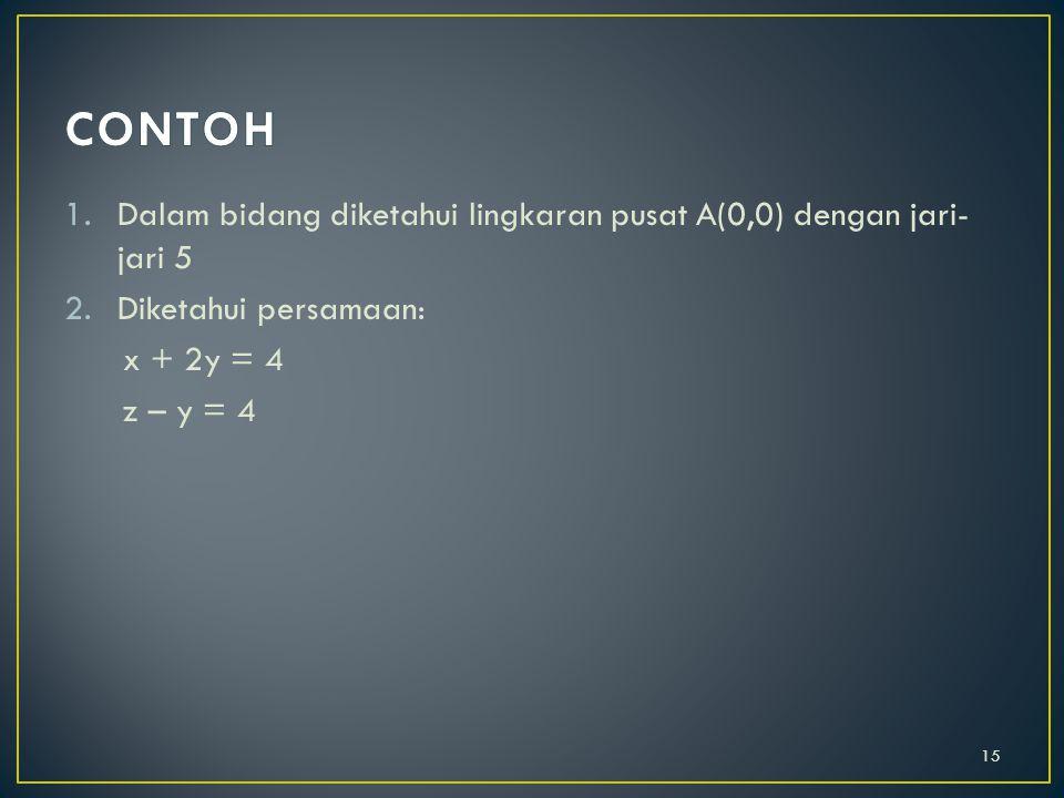 CONTOH Dalam bidang diketahui lingkaran pusat A(0,0) dengan jari-jari 5. Diketahui persamaan: x + 2y = 4.