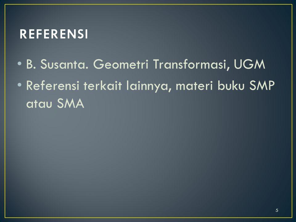 REFERENSI B. Susanta. Geometri Transformasi, UGM.