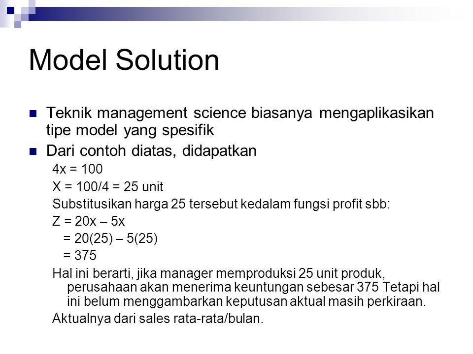 Model Solution Teknik management science biasanya mengaplikasikan tipe model yang spesifik. Dari contoh diatas, didapatkan.