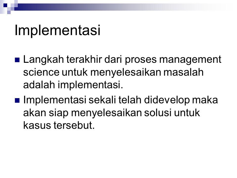 Implementasi Langkah terakhir dari proses management science untuk menyelesaikan masalah adalah implementasi.