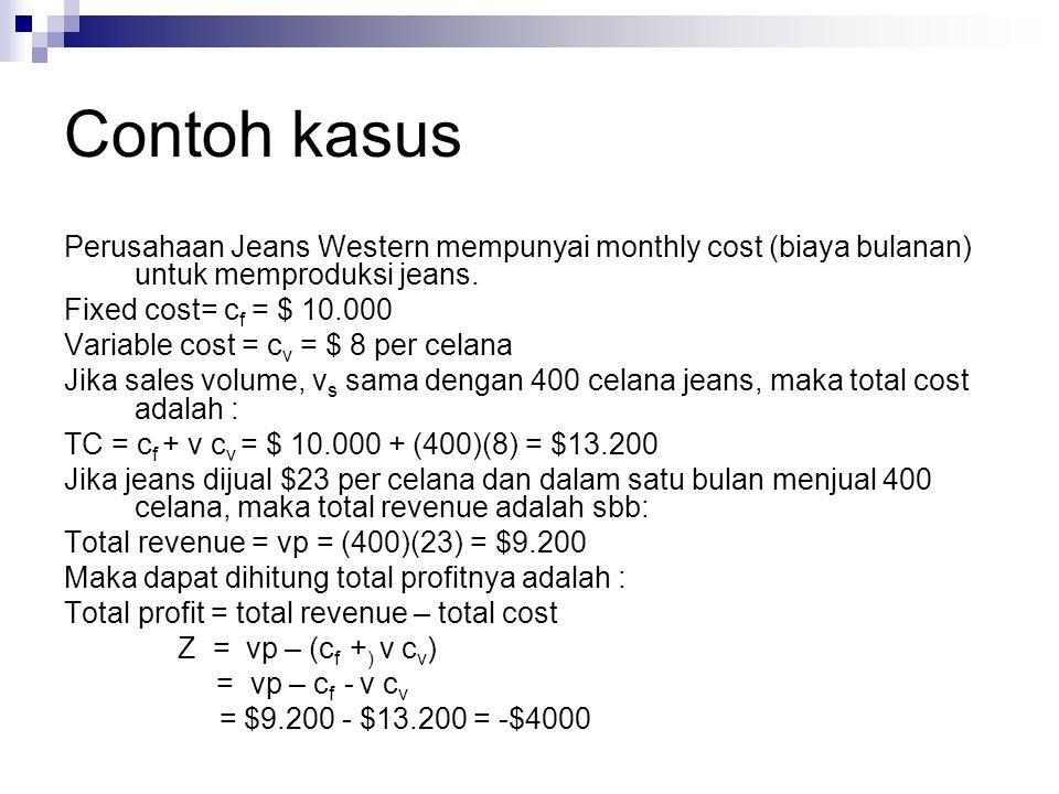 Contoh kasus Perusahaan Jeans Western mempunyai monthly cost (biaya bulanan) untuk memproduksi jeans.