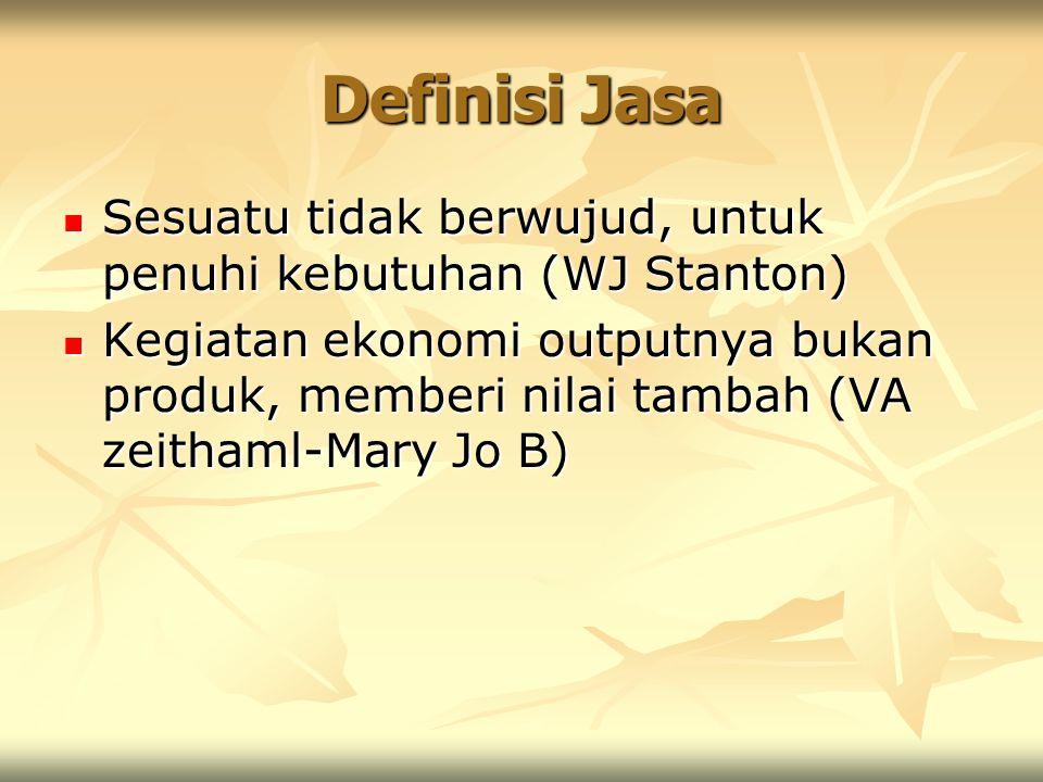Definisi Jasa Sesuatu tidak berwujud, untuk penuhi kebutuhan (WJ Stanton)