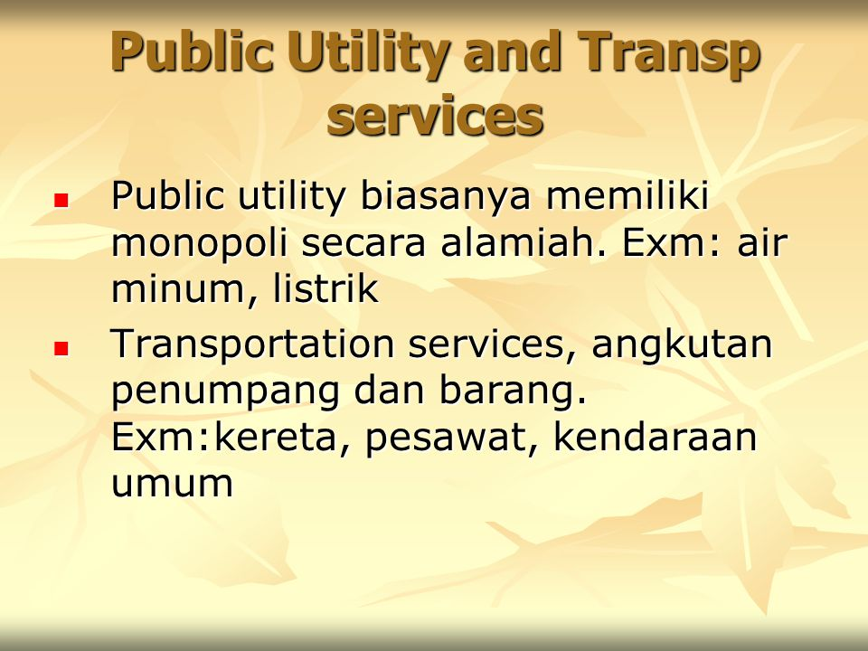 Public Utility and Transp services