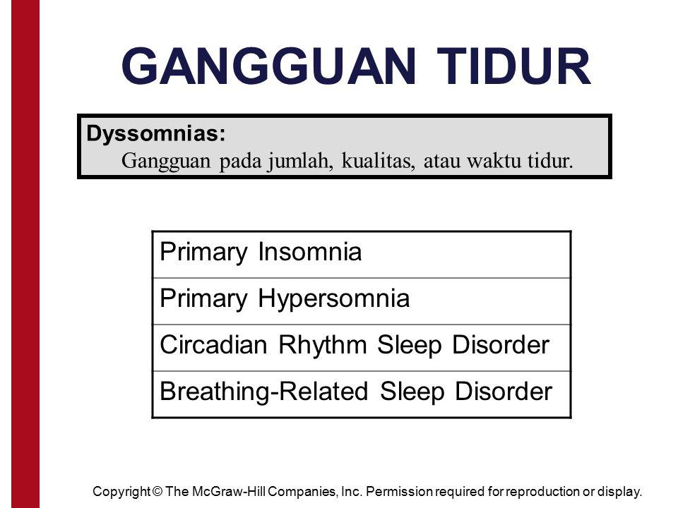 Gangguan pada jumlah, kualitas, atau waktu tidur.