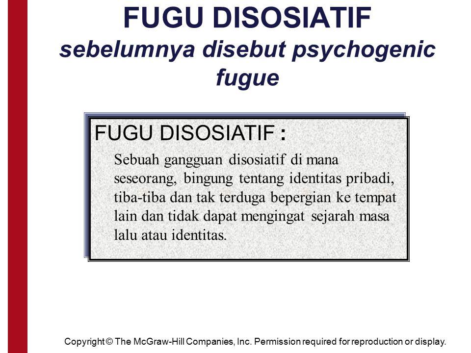 FUGU DISOSIATIF sebelumnya disebut psychogenic fugue