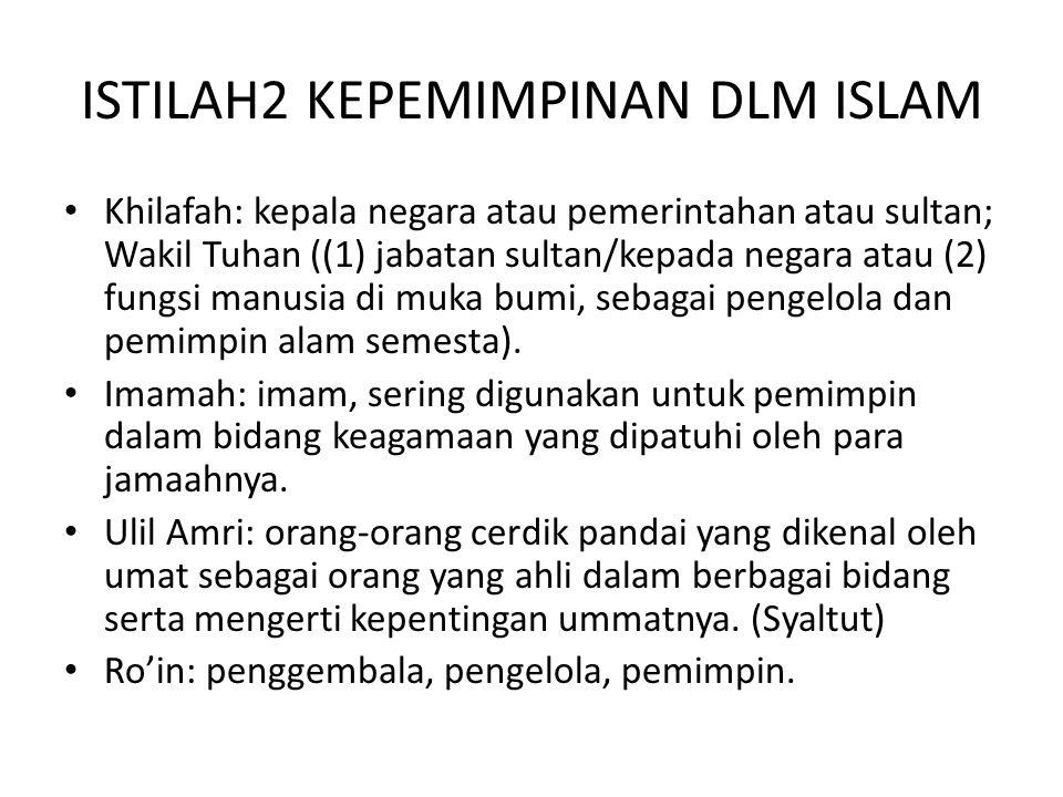 ISTILAH2 KEPEMIMPINAN DLM ISLAM