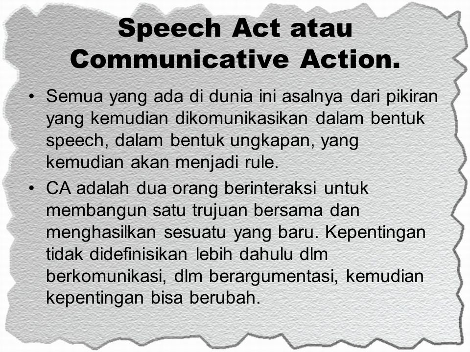 Speech Act atau Communicative Action.