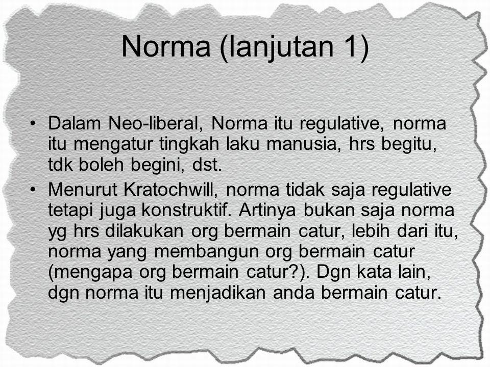 Norma (lanjutan 1) Dalam Neo-liberal, Norma itu regulative, norma itu mengatur tingkah laku manusia, hrs begitu, tdk boleh begini, dst.