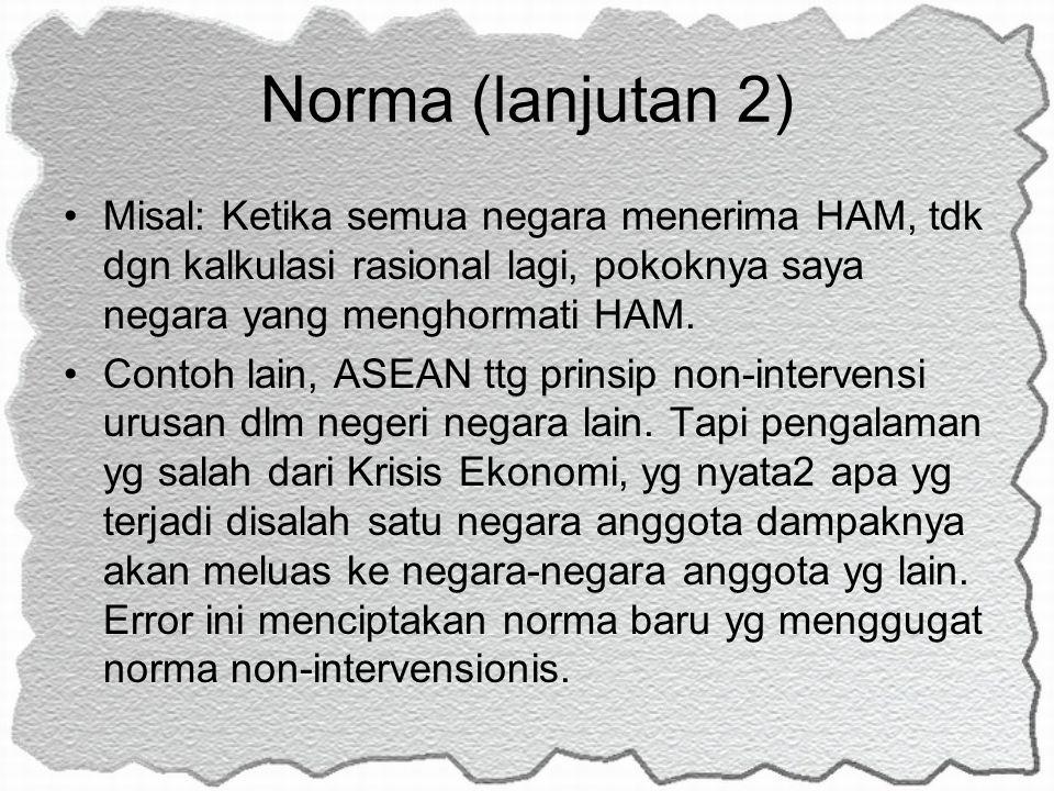 Norma (lanjutan 2) Misal: Ketika semua negara menerima HAM, tdk dgn kalkulasi rasional lagi, pokoknya saya negara yang menghormati HAM.
