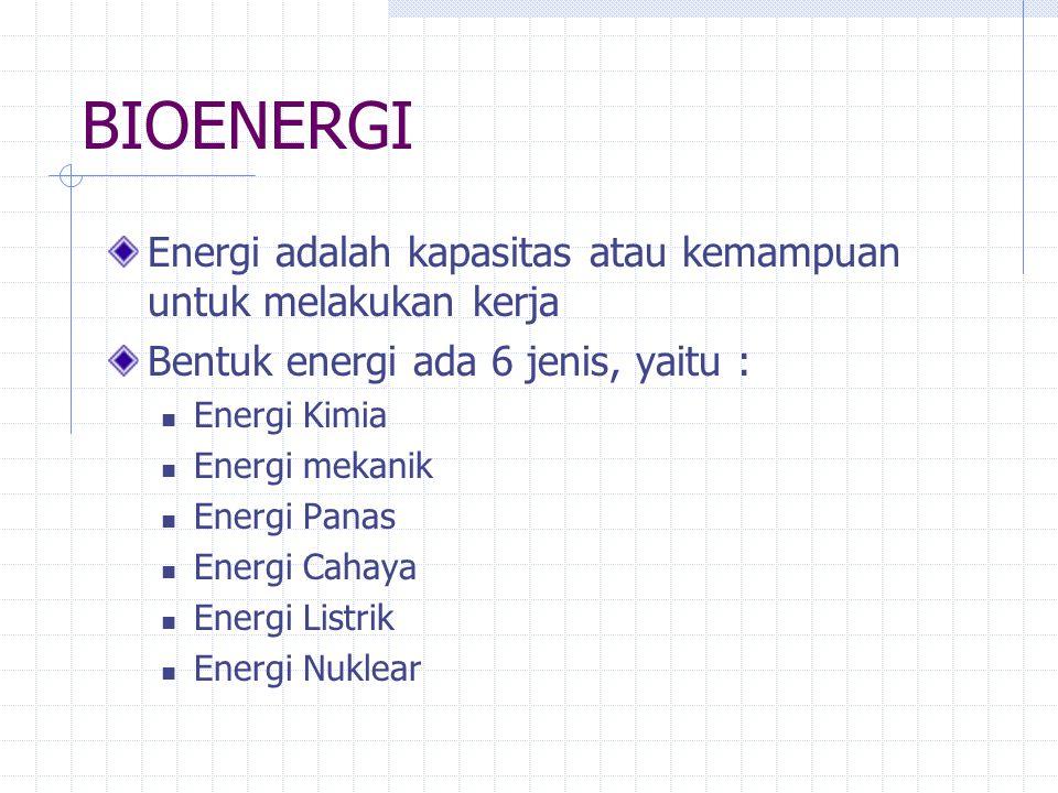 BIOENERGI Energi adalah kapasitas atau kemampuan untuk melakukan kerja