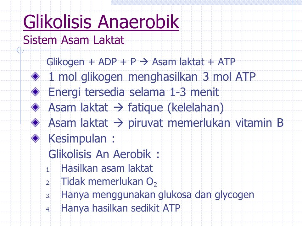 Glikolisis Anaerobik Sistem Asam Laktat