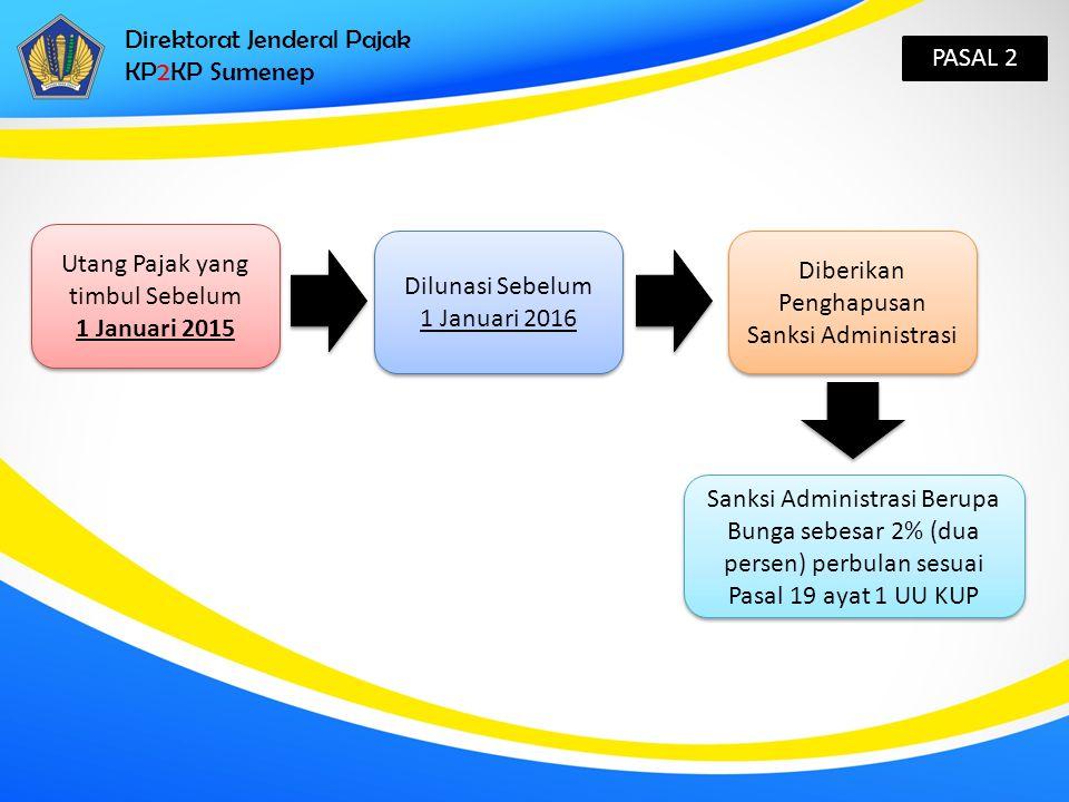 Direktorat Jenderal Pajak KP2KP Sumenep PASAL 2