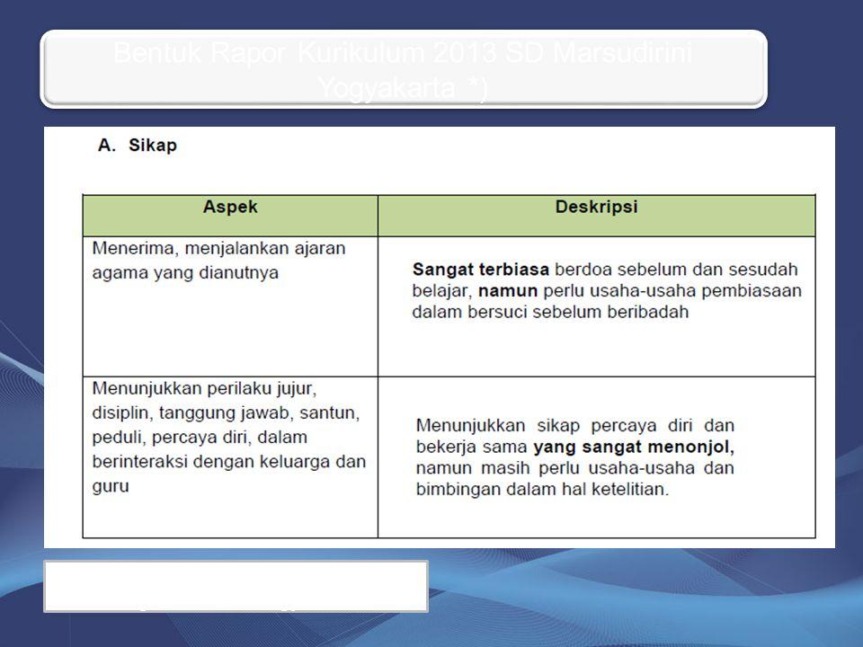 Bentuk Rapor Kurikulum 2013 SD Marsudirini Yogyakarta *)