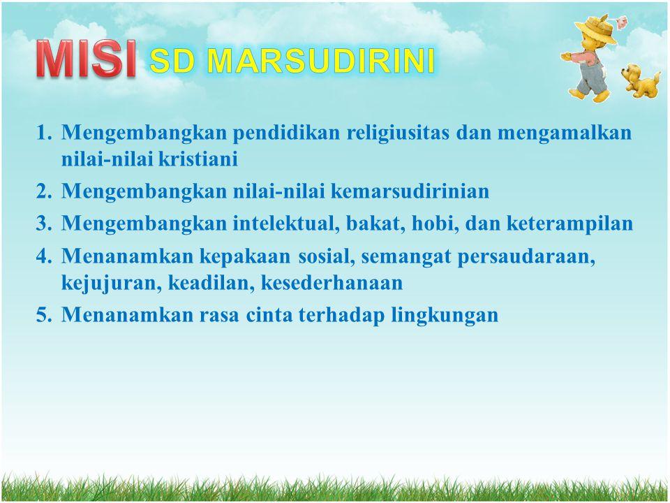 MISI SD MARSUDIRINI. Mengembangkan pendidikan religiusitas dan mengamalkan nilai-nilai kristiani. Mengembangkan nilai-nilai kemarsudirinian.