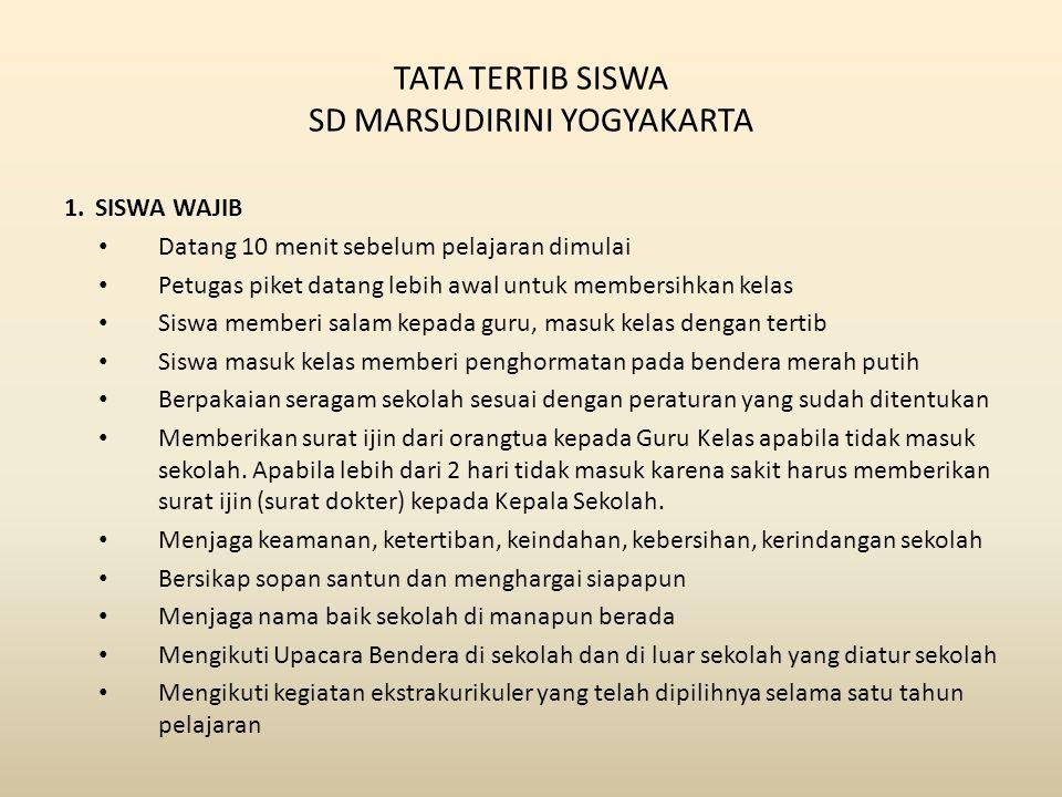TATA TERTIB SISWA SD MARSUDIRINI YOGYAKARTA