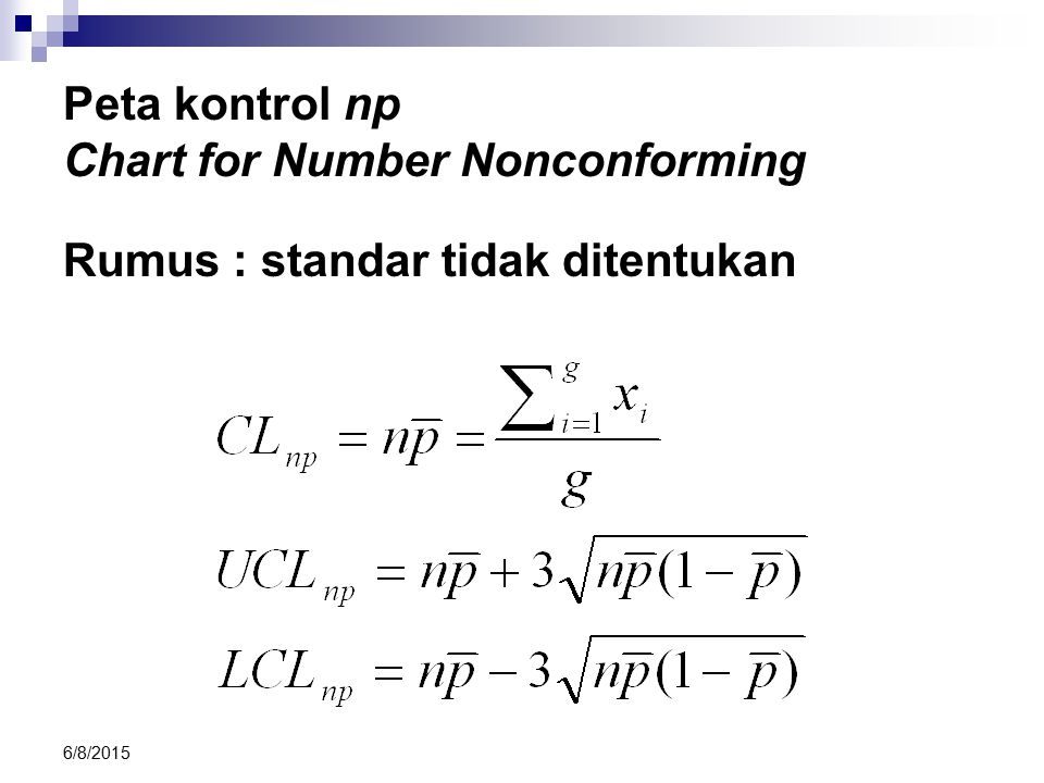 Peta kontrol np Chart for Number Nonconforming