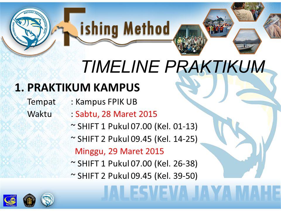 TIMELINE PRAKTIKUM 1. PRAKTIKUM KAMPUS Tempat : Kampus FPIK UB