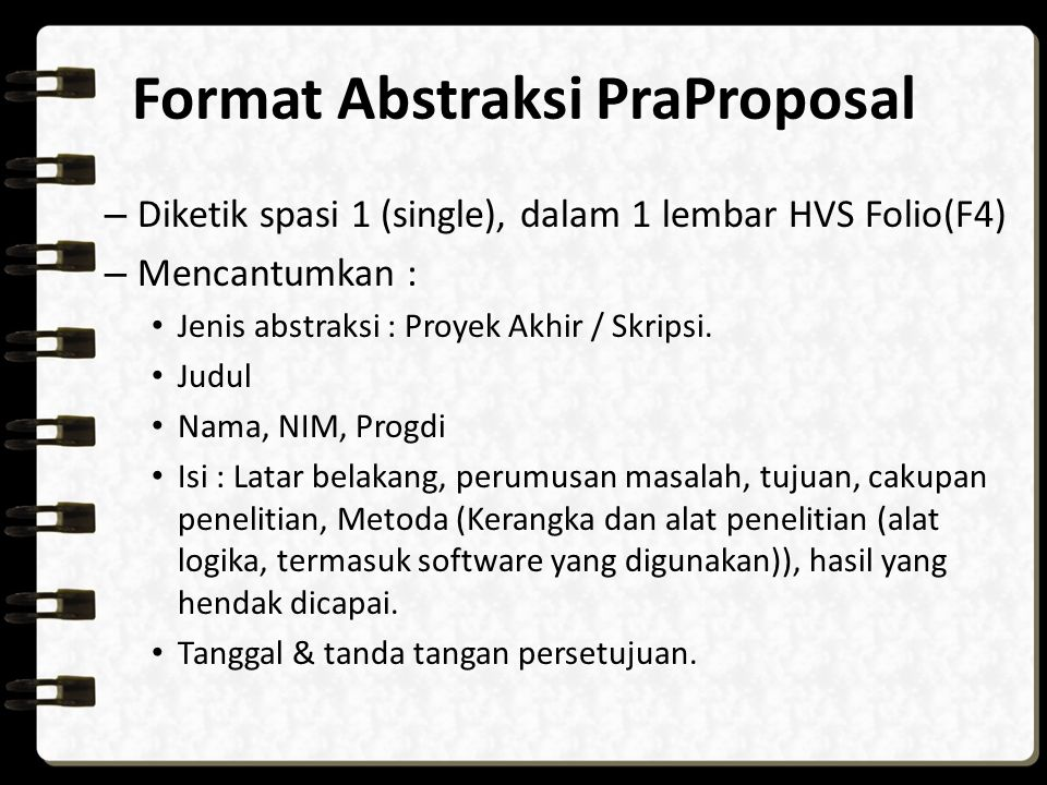 Format Abstraksi PraProposal