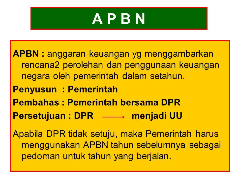 A P B N APBN : anggaran keuangan yg menggambarkan rencana2 perolehan dan penggunaan keuangan negara oleh pemerintah dalam setahun.