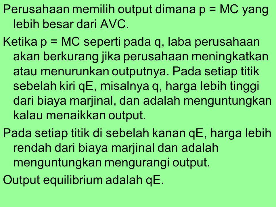 Perusahaan memilih output dimana p = MC yang lebih besar dari AVC
