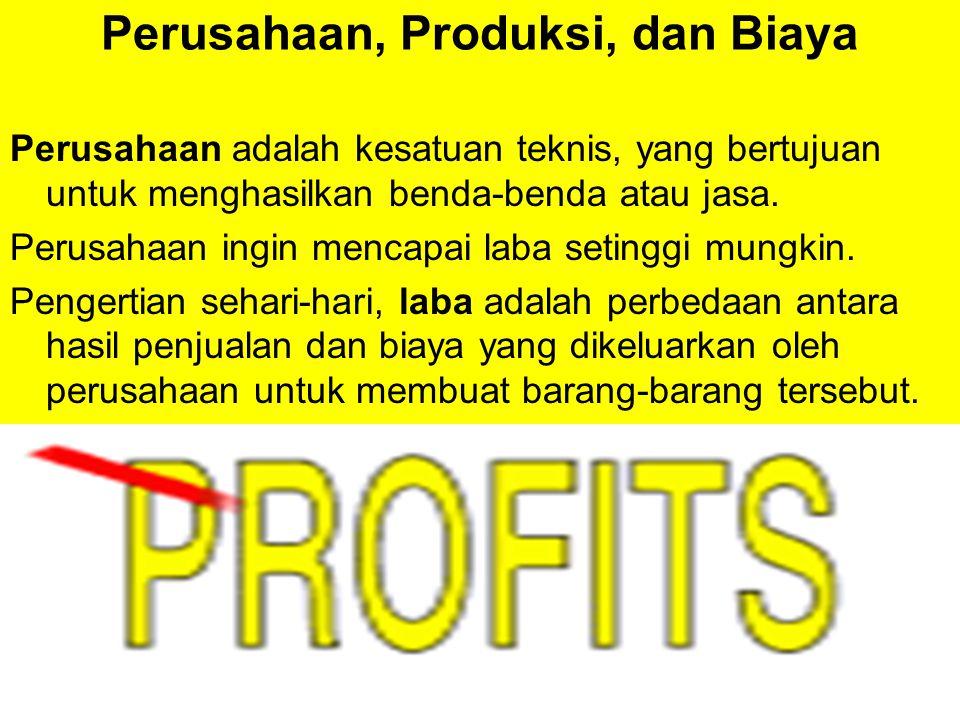 Perusahaan, Produksi, dan Biaya