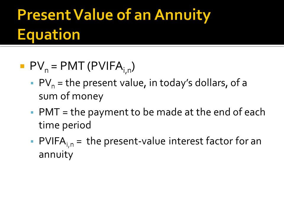 Present Value of an Annuity Equation