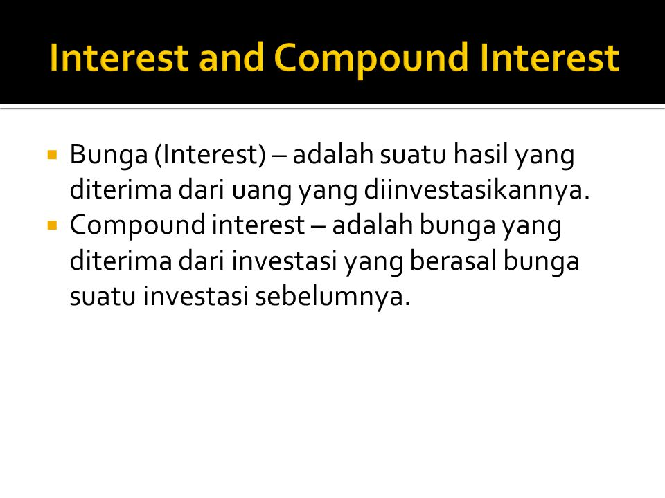 Interest and Compound Interest