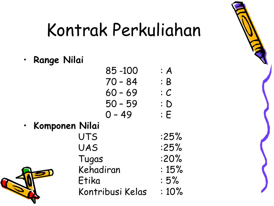 Kontrak Perkuliahan Range Nilai 85 -100 : A 70 – 84 : B 60 – 69 : C