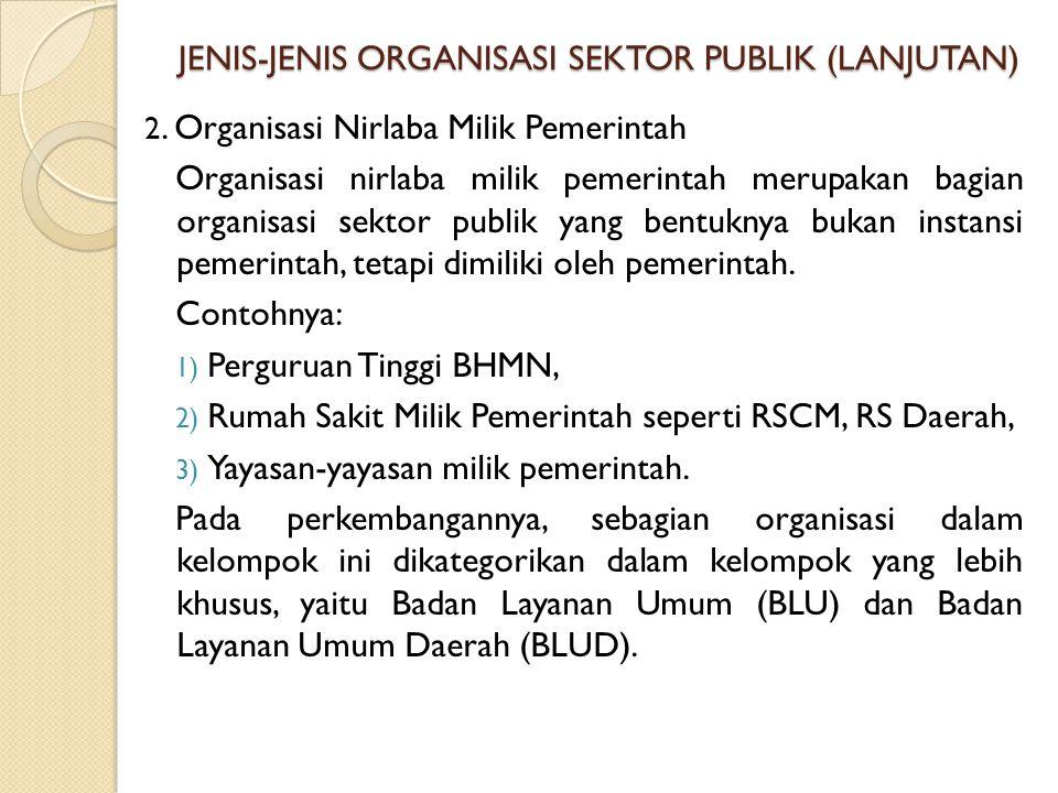 JENIS-JENIS ORGANISASI SEKTOR PUBLIK (LANJUTAN)