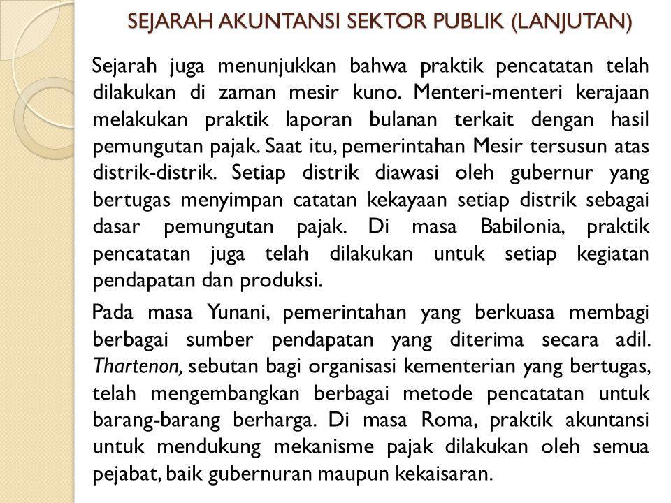 SEJARAH AKUNTANSI SEKTOR PUBLIK (LANJUTAN)