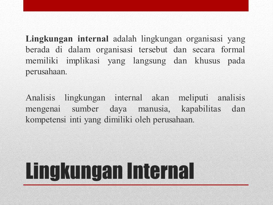 Lingkungan internal adalah lingkungan organisasi yang berada di dalam organisasi tersebut dan secara formal memiliki implikasi yang langsung dan khusus pada perusahaan. Analisis lingkungan internal akan meliputi analisis mengenai sumber daya manusia, kapabilitas dan kompetensi inti yang dimiliki oleh perusahaan.
