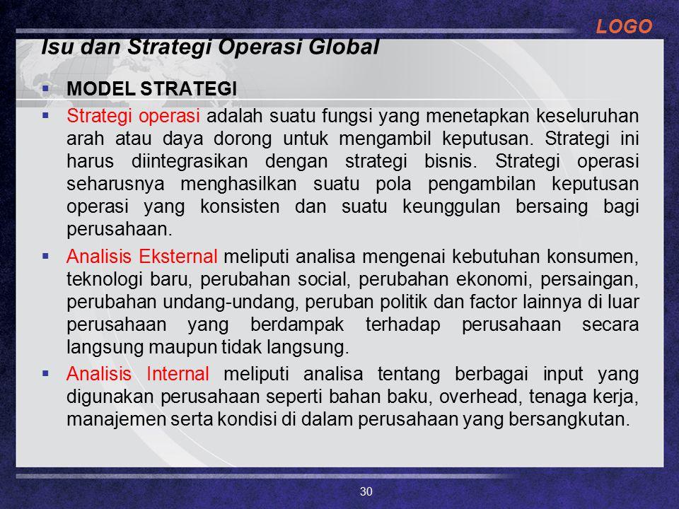 Isu dan Strategi Operasi Global
